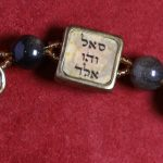 Kabbalah bracelet with symbols of the 72 names inlaied with Labradorite stones